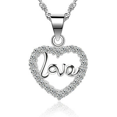 Women 925 Sterling Silver Heart Crystal Pendant Necklace Chain Charm Jewelry