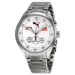 Puma Counter Chronograph White Dial Stainless Steel Mens Watch PU102451004