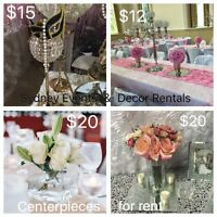 assorted Centerpiece for Rent. Candelabras/Vases/Manzanita Trees