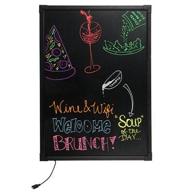 28 X 20 Black Led Illuminated Single Sided Write-on Marker Menu Board