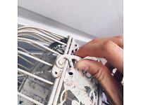 White vintage birdcage