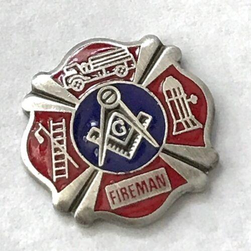 New OLD STOCK Masonic Fireman G Emblem Enamel & Brushed Stainless Steel 5pc Lot