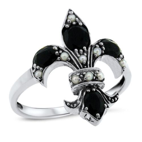 GENUINE BLACK AGATE & PEARL FLEUR-DE-LIS VICTORIAN 925 STERLING SILVER RING #593