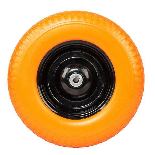 "16"" Flat Free Wheel Barrow Wheelbarrow Tire Solid Foam 5/8 Axle Cart Wagon"