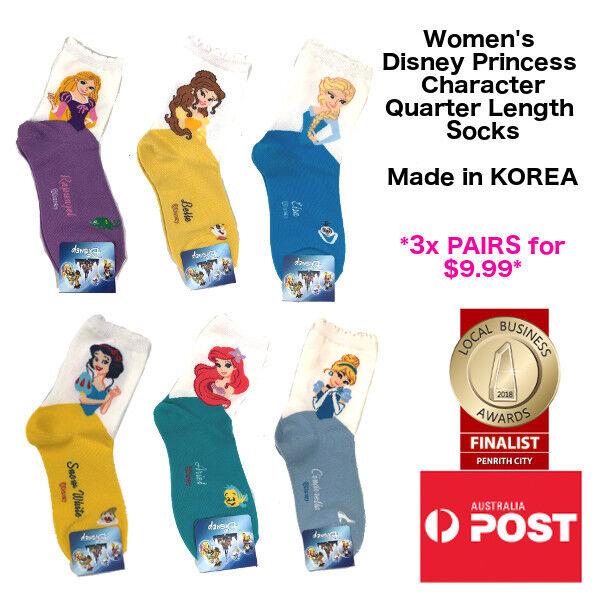 Women's Quarter Length Disney Princess Socks 3 PAIRS FOR $9.