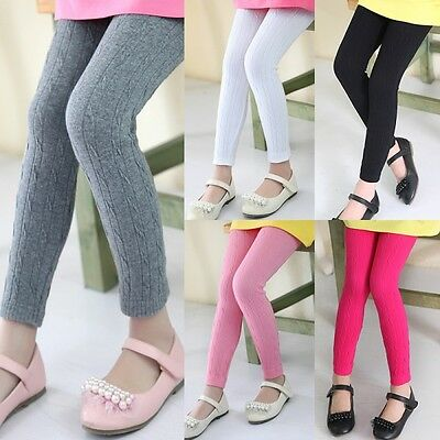 Kids Girls Cable Knit Leggings Tight Pants Stretch Full Length Plain Trousers - Girls-cable Knit Tights
