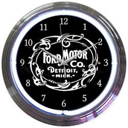 FORD MOTOR 1903 HERITAGE EMBLEM 15 Neon Wall Clock Neonetics 8FRDMC Man Cave
