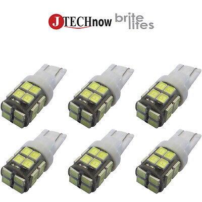 Jtech 6X T10 400 Lumens 20 Smd 2835 Led Bulb Extremely Bright White 194 168 2825