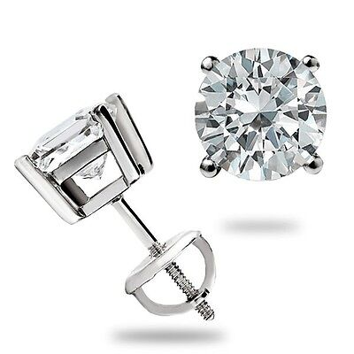 1.55 Ct Round cut Basket set Stud Earrings Lab Diamond Screwback 14k White Gold