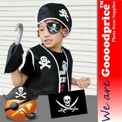 Brand New Halloween Costume set Pirate Eye patch Hook Vest Hat Bag For Child Men - Pirate Vest For Kids