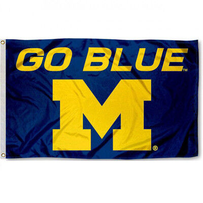Michigan Wolverines Go Blue college banner 3X5ft Flag Man Cave  - Michigan Wolverines Banner