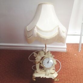 Cream lamp with clock