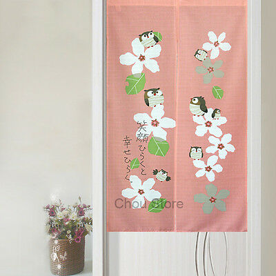 Lovely Owl Pink Sakura Japanese Style Noren House Doorway Curtain Door Hanging