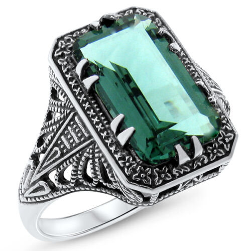 5 Ct GREEN SIM EMERALD ART DECO ANTIQUE STYLE 925 STERLING SILVER RING      #393