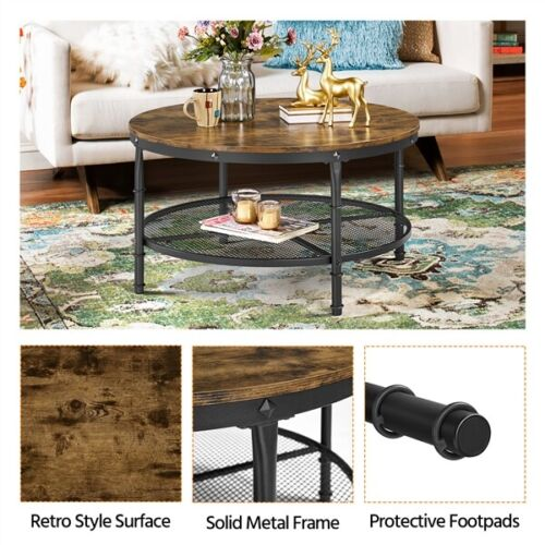 2-Tier Rustic Round Coffee Table Home Furniture w/ Storage Shelf for Living Room 3