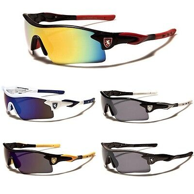 Khan Half Frame Mens Mirrored Lens Wrap Around Sport Cycling Baseball Sunglasses