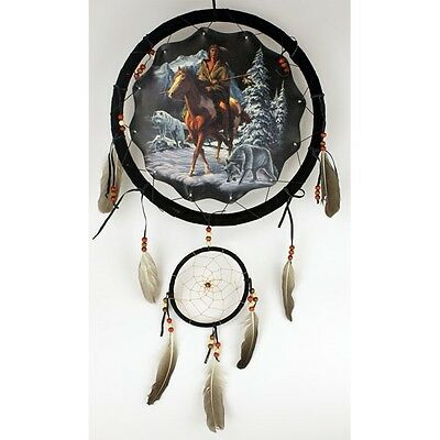 "Large 13"" Hoop Indian Brave Native American-Style Mandala Dream Catcher Wall Art"
