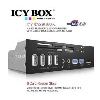 "IB-863-A: ICY BOX 5.25"" Multi-port Card Reader with USB 3.0 ,USB"