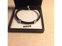 Brand New H.Samuel Black Chain Men's Silver Bracelet
