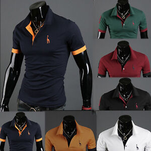 Mens-Short-Sleeve-Slim-Fit-Polo-Shirt-Tops-Designed-Stylish-Casual-T-shirts-Tee
