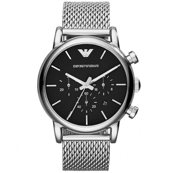 emporio armani mens luigi black and silver mesh bracelet watch new emporio armani mens genuine luigi mesh steel watch ar1811 rrp £239