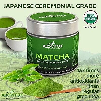Japanese Matcha Green Tea Powder Certified Organic Ceremonial Grade Alovitox 1Oz