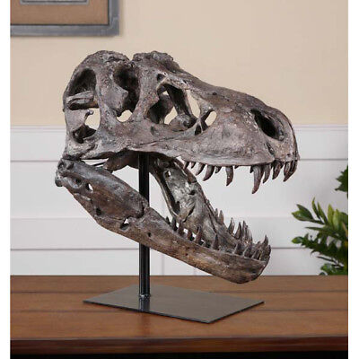 Large Dinosaur Skull Sculpture T Rex Head Natural Looking Bone Tyrannosaurus, used for sale  Brigantine