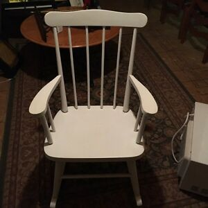 Beautiful solid wood white rocking chair and white/ lamp
