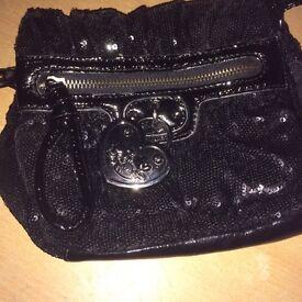 Nica designer Handbag,bag black with sequins and heart motif