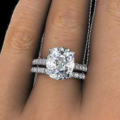 5.10 Ct. Cushion Cut Pave Natural Diamond Wedding Set GIA Certified & Appraised