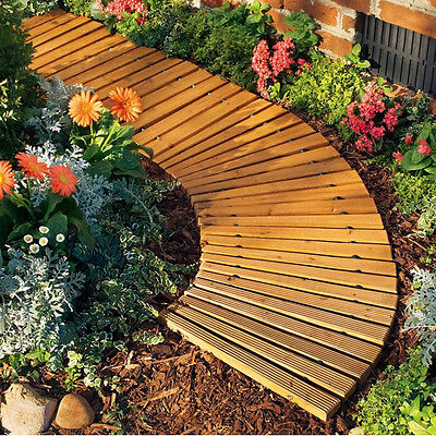 Roll-Out Wooden Curved Pathway Garden Bridge Outdoor Home Furniture Decor Yard