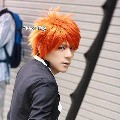 Bleach Kurosaki Ichigo Cosplay Kostüme Perück Orange 30cm Welling Anime + (Kurosaki Ichigo Cosplay Kostüm)