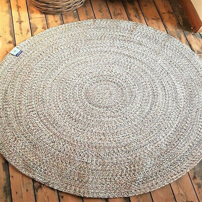 150cm x 150cm Circle Ivory Multi Quality Cotton Rustic Reversible Circular rugs