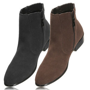 mens casual suede side zip pointed ankle boots high top