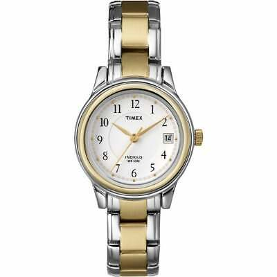 Timex T25771 White Dial Two Tone Steel Bracelet Strap Indiglo Women's Watch