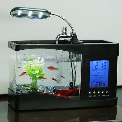 USB LCD Desktop Lamp Light Fish Tank Artificial Plant Aquarium Alarm Date Z6E5