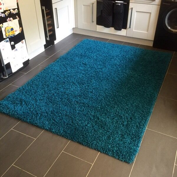 EXCELLENT CONDITION Large Dark Teal Shaggy Rug
