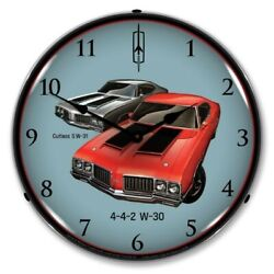 Retro 1970 Oldsmobile Cutlass 442 W-30 & W-31 LED Lighted Backlit Wall Clock NEW