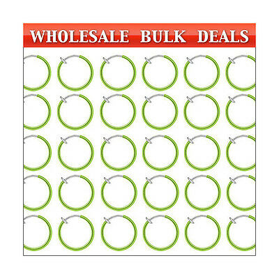 200 Rhodium Plated Non-piercing Green Spring Hoops (10mm)...