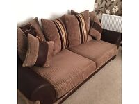 Three seat brown sofa and large swivel chair