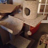Cat tree and wicker bed