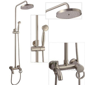 Brushed Nickel 8 Shower Faucet Wall Mount Rain Shower Mixer Tap Valve Tub Spout