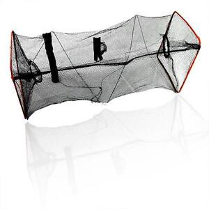 FISH CRAB LOBSTER CRAWFISH SHRIMP BASKET FOLDABLE MESH NYLON TRAP HOOP NET MESH