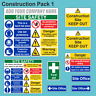 Construction/Building Site Safety Sign Complete Pack 1/FREE Company Name or Logo