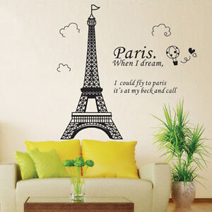 Paris Eiffel Tower Wall Sticker Removable Decal Room Wall Sticker Home Decor