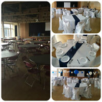 chair covers, tablecloths, table linen rentals for less