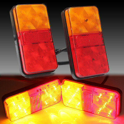 2 X 12V LED Rear Tail Brake Stop Indicator Lights LAMP Truck VAN Boat Trailer