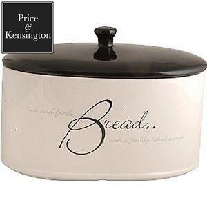 Price and Kensington Script Bread Crock Ceramic Bread Bin White Storage New