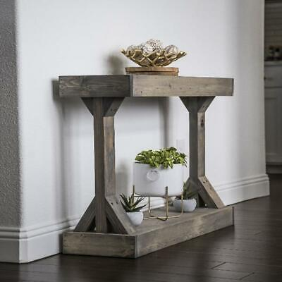Rustic Console Accent Table Solid Wood Distressed Gray Display Shelf Sofa Entry