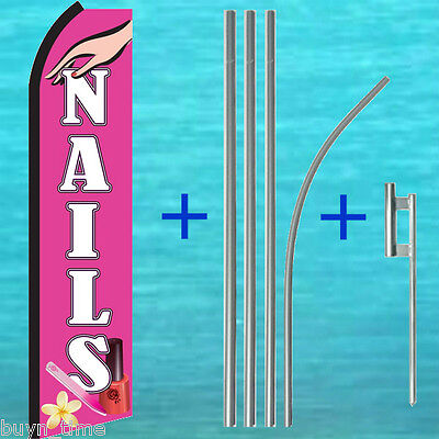 Nails Flutter Flag Pole Mount Kit Tall Curved Advertising Sign Swooper Banner
